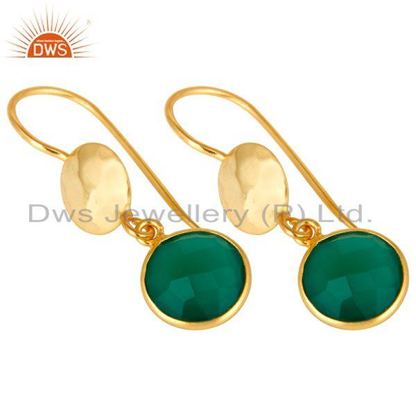 Wholesalers 22K Yellow Gold Plated Silver Green Onyx Hammered Disc Dangle Earrings