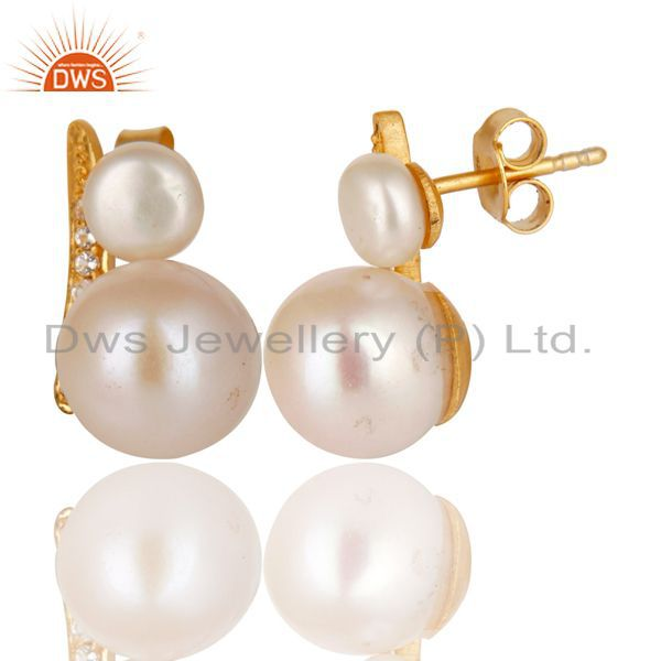Exporter 14K Yellow Gold Plated 925 Sterling Silver Pearl & White Topaz Studs Earrings