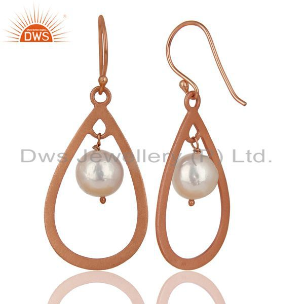 Exporter 14K Rose Gold Plated Sterling Silver Pearl Beads Temple Design Drops Earrings
