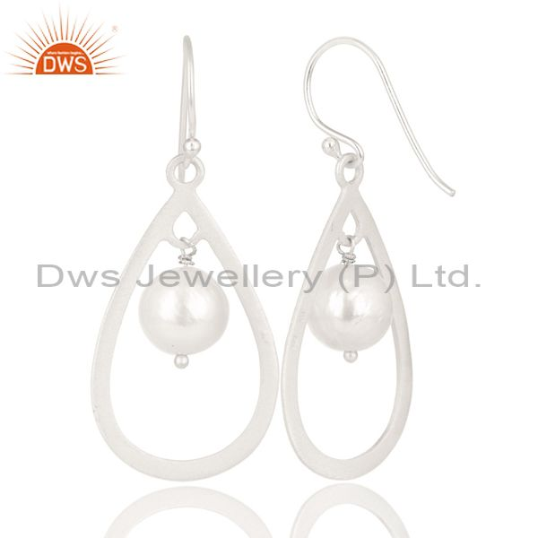 Exporter Handmade Solid 925 Sterling Silver Pearl Beads Temple Design Drops Earrings