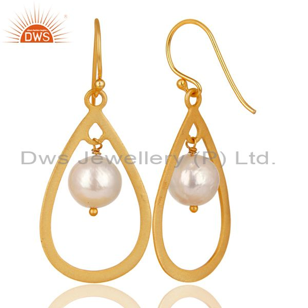 Exporter 14K Gold Plated 925 Sterling Silver Pearl Beads Temple Design Drops Earrings