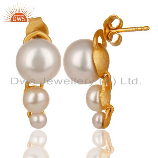 Exporter 14K Yellow Gold Plated 925 Sterling Silver Handmade Pearl Beads Drops Earrings