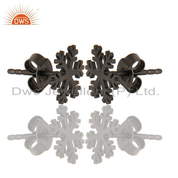 Exporter Black Oxidized 925 Sterling Silver Handmade Beautiful Design Studs Earrings