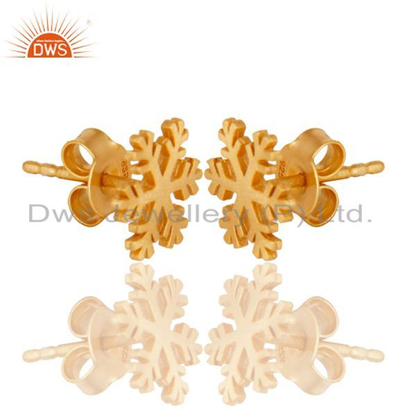 Exporter 14K Gold Plated 925 Sterling Silver Handmade Beautiful Design Studs Earrings