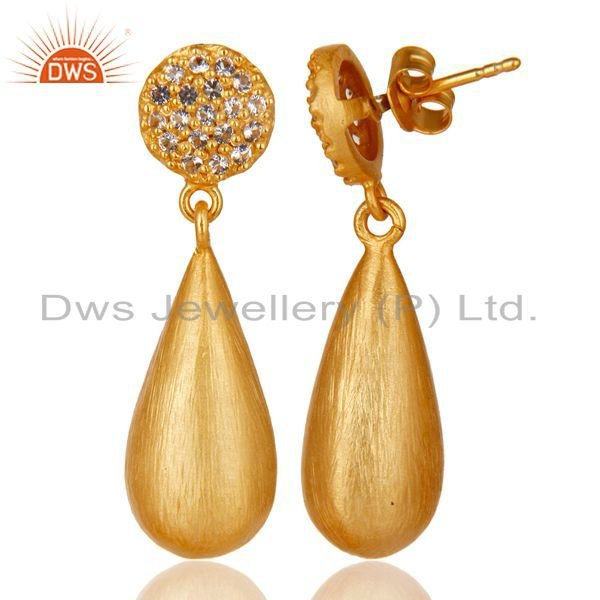 Exporter 14K Yellow Gold Plated 925 Sterling Silver White Topaz Gemstone Drops Earrings