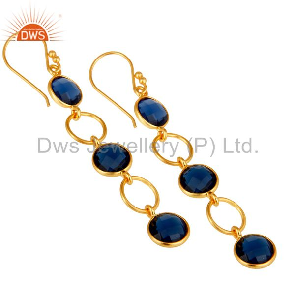 Wholesalers Blue Corundum and 18K Gold Plated Sterling Silver Circle Dangler Earring