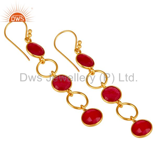 Wholesalers Natural Aventurine and 18K Gold Plated Sterling Silver Circle Dangler Earring