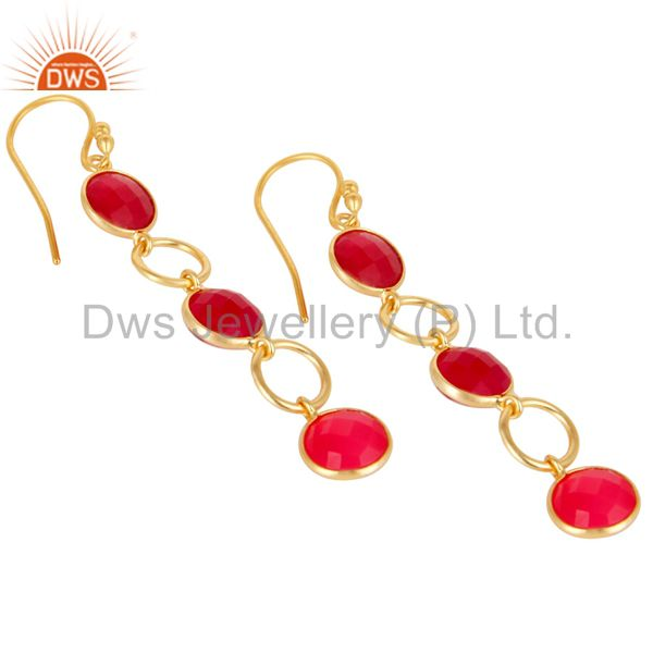 Wholesalers Dyed Chalcedony 18K Gold Plated 925 Sterling Silver Circle Dangler Earrings