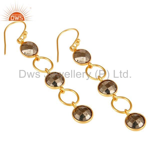 Wholesalers Pyrite and 18K Gold Plated Sterling Silver Circle Dangler Earring