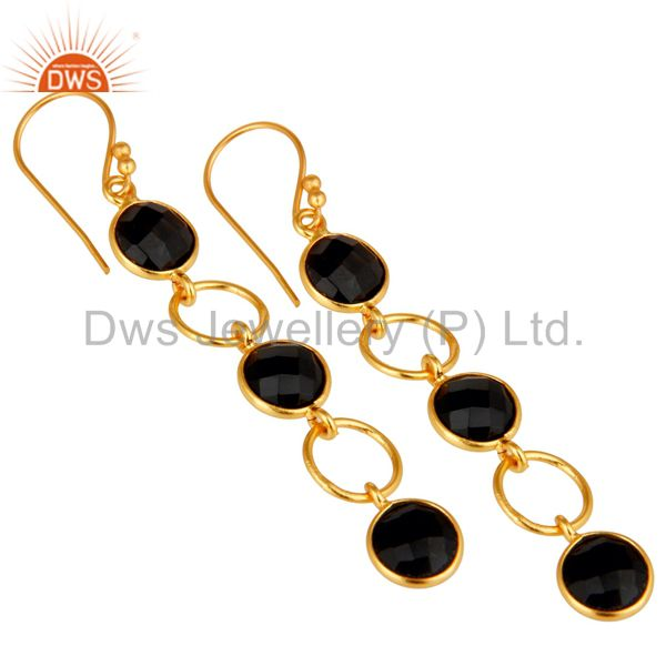Wholesalers Black Onyx and 18K Gold Plated Sterling Silver Circle Dangler Earring