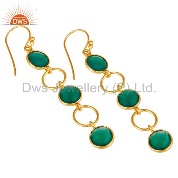 Wholesalers Green Onyx and 18K Gold Plated Sterling Silver Circle Dangler Earring