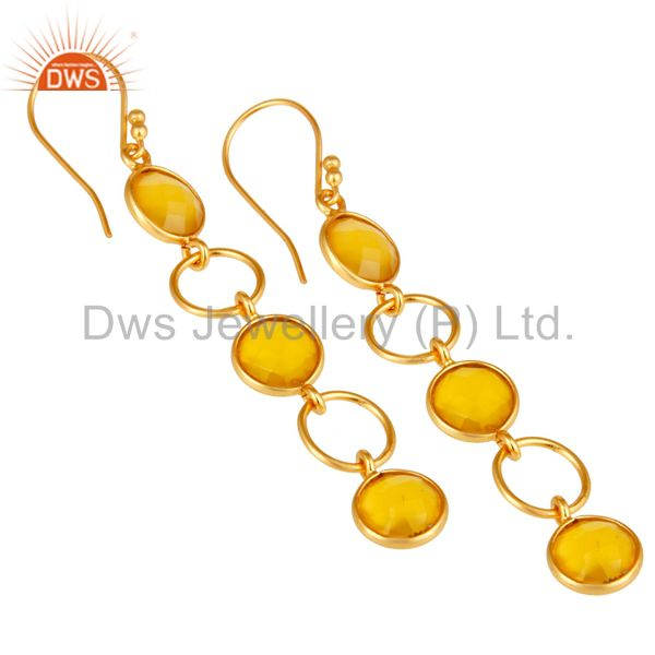 Wholesalers Yellow Chalcedony and 18K Gold Plated Sterling Silver Circle Dangler Earring