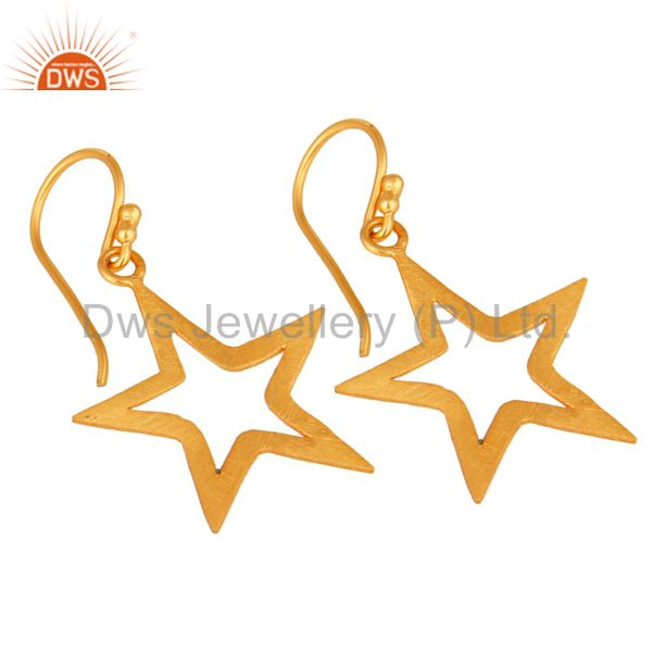 Wholesalers 18K Yellow Gold Over Sterling Silver Star Design Womens Dangle Earrings