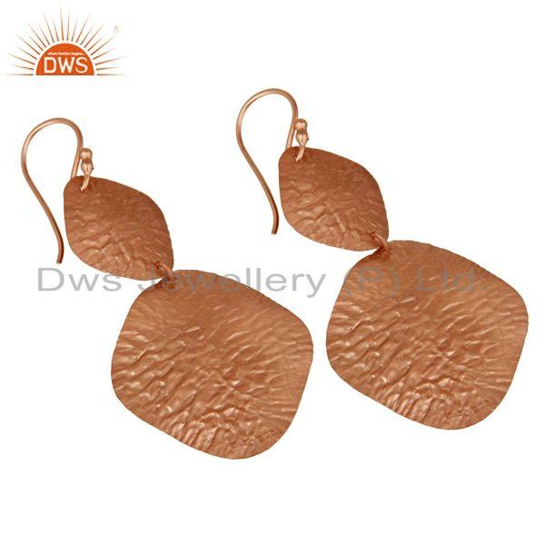 Wholesalers 18K Rose Gold Over Sterling Silver Dangling Flake Drop Earrings