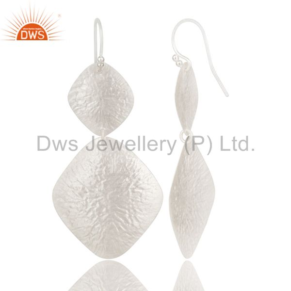 Suppliers Handcrafted Sterling Silver Hammered Foil Designer Drop Dangle Earrings