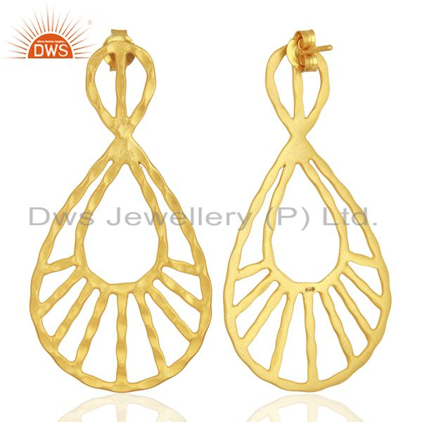 Exporter 24K Yellow Gold Plated Sterling Silver Hammered Designer Drop Dangle Earrings