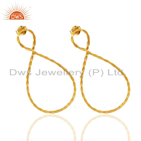 Exporter 24K Yellow Gold Plated Sterling Silver Hammered Infinity Dangle Earrings