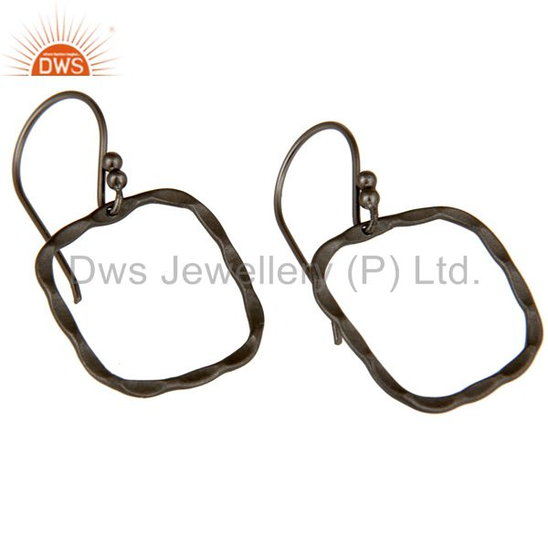 Wholesalers 925 Solid Sterling Silver Oxidized Hammered Open Circle Dangle Earrings