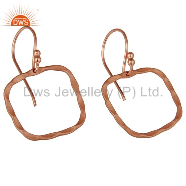 Wholesalers 18K Rose Gold Plated Sterling Silver Hammered Open Circle Dangle Earrings