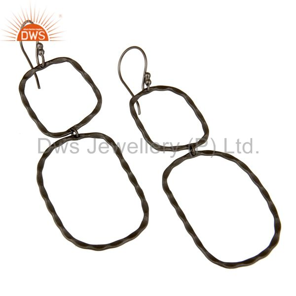 Wholesalers Black Rhodium Plated Sterling Silver Hand Hammered Open Circle Dangle Earrings