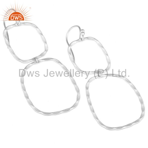 Wholesalers Solid Sterling Silver Hammered Open Double Circle Dangle Earrings