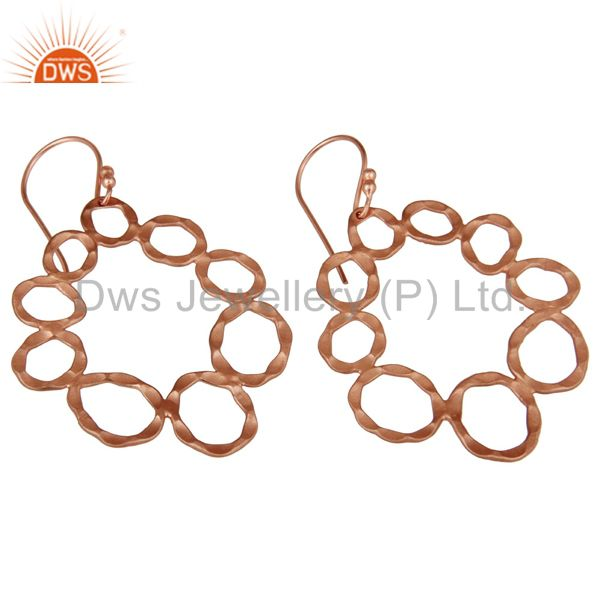 Wholesalers Handmade Solid Sterling Silver Rose Gold Plated Hammered Circle Dangle Earrings