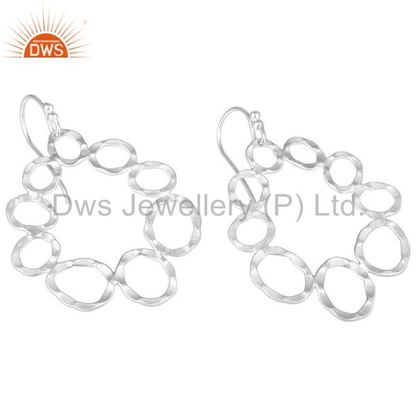 Wholesalers Handmade Solid Sterling Silver Hammered Circle Dangle Earrings
