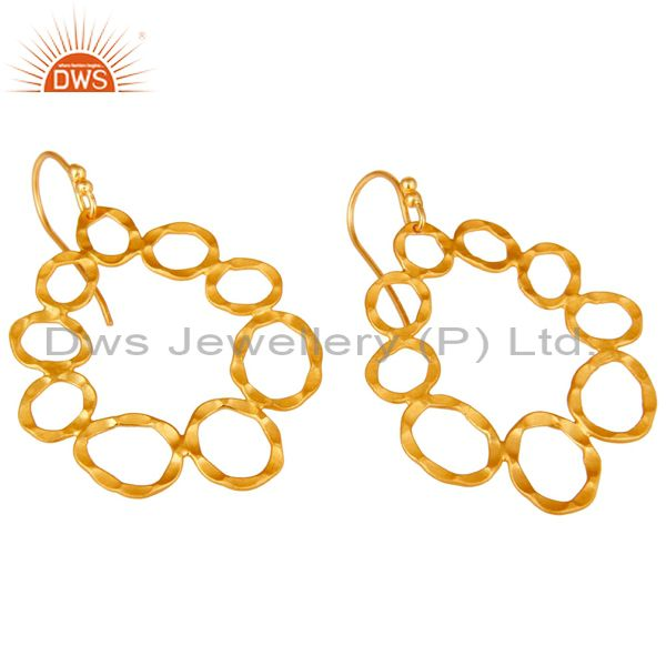 Wholesalers 24K Yellow Gold Plated Sterling Silver Hammered Multi Circle Dangle Earrings