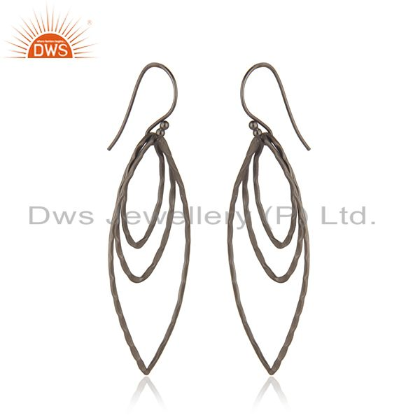 Exporter Handmade Sterling Silver Oxidized Brushed Finish Multi Circle Dangle Earrings