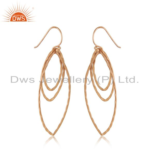 Exporter 18K Rose Gold Plated Sterling Silver Hammered Open Marquise Dangle Earrings