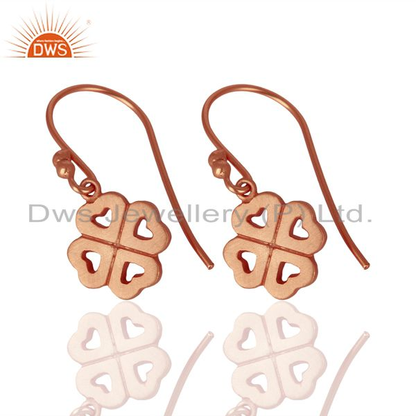 Exporter 18K Rose Gold Plated Sterling Silver Four Heart Design Dangle Earrings