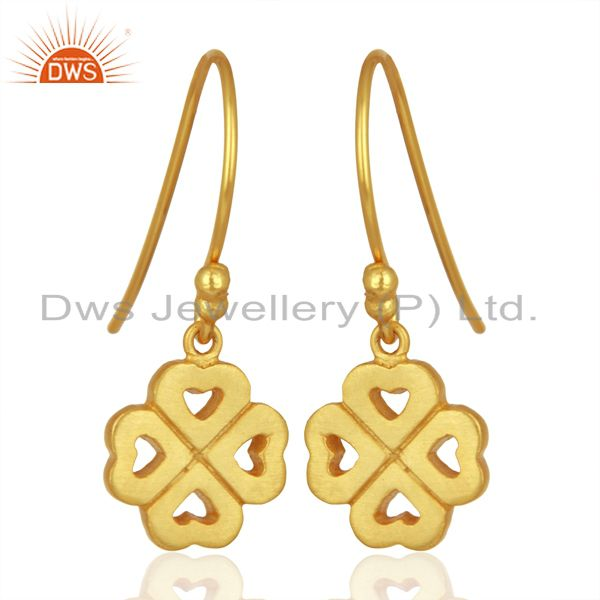Exporter 18K Yellow Gold Plated Sterling Silver Four Heart Design Dangle Earrings