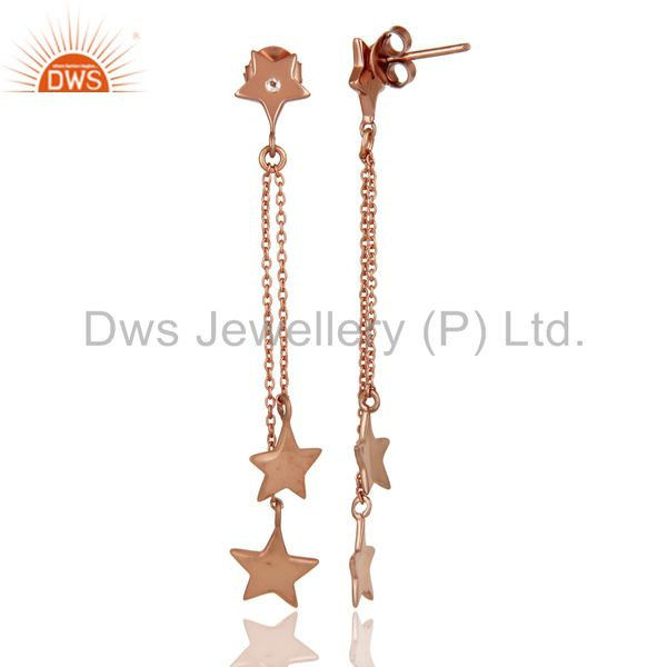 Suppliers 925 Sterling Silver With Rose Gold Plated White Topaz Star Chain Dangle Earrings