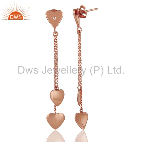 Suppliers Sterling Silver Rose Gold Plated White Topaz Heart Chain Dangle Earrings