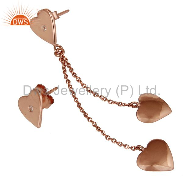 Suppliers 18K Rose Gold Plated Sterling Silver Heart Link Chain Dangle Stud Earrings
