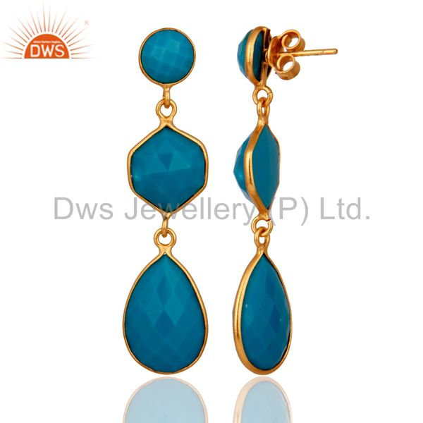 Exporter 18K Yellow Gold Plated Sterling Silver Turquoise Bezel Set Triple Dangle Earring