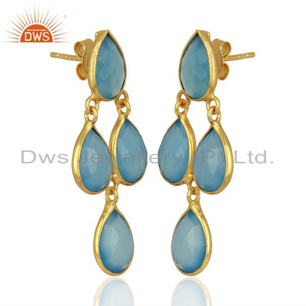 Exporter Blue Chalcedony Drop 18K Gold Plated 925 Sterling Silver Earrings Jewelry