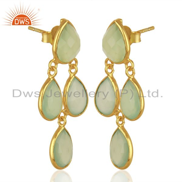 Exporter Prehnite Chalcedony Gemstone Gold Plated Silver Earrings Jewelry