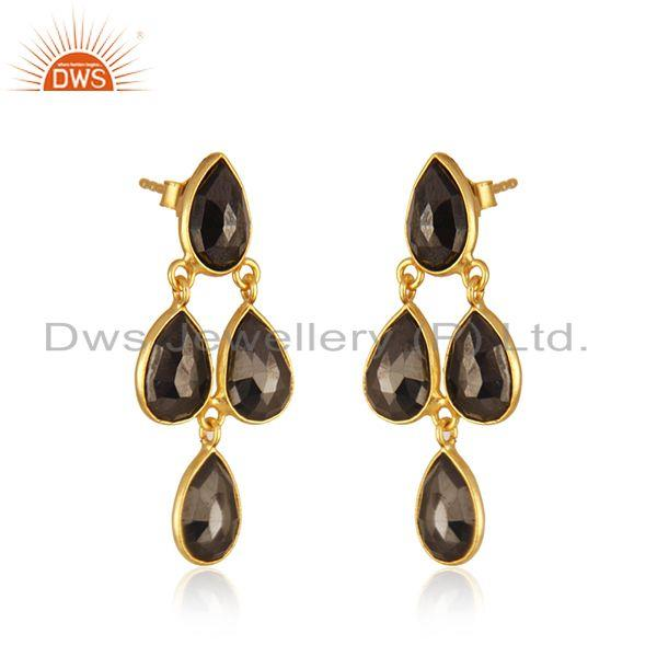 Exporter Hematite Gemstone Gold Plated 925 Silver Earring Manufacturer in India
