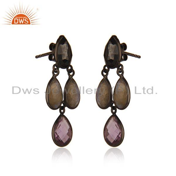 Exporter Multi Gemstone Black Rhodium Plated Sterling Silver Earrings Suppliers india