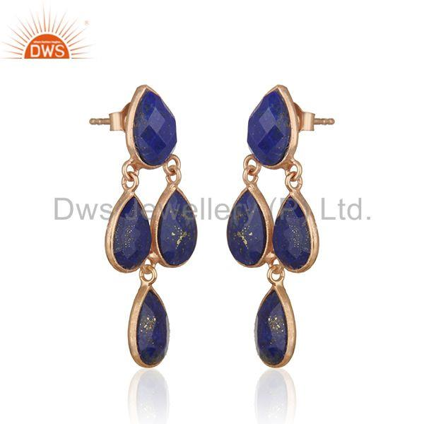 Exporter Lapis Lazuli Gemstone Rose Gold Plated Sterling Silver Earrings Manufacturer