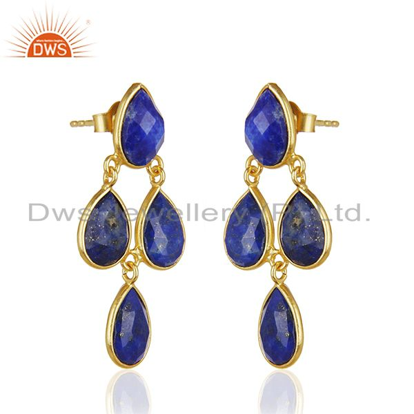 Exporter Lapis Lazuli Dangle 18K Gold Plated 925 Sterling Silver Earrings Jewelry