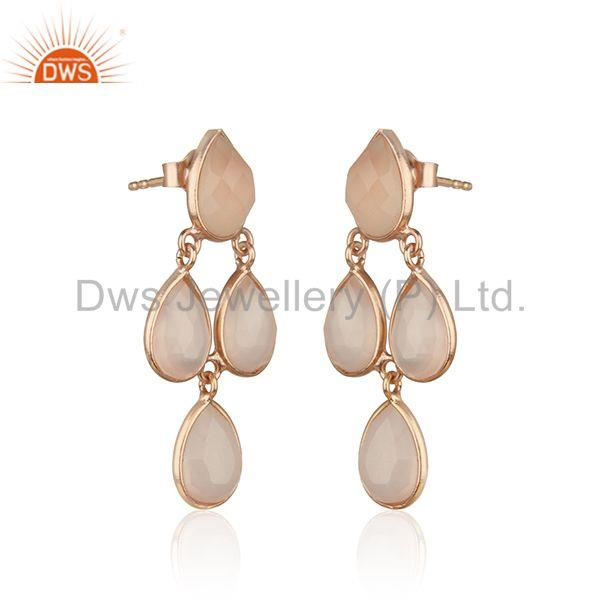 Exporter Rose Gold Plated 925 Silver Rose Chalcedony Gemstone Handmade Earring Supplier
