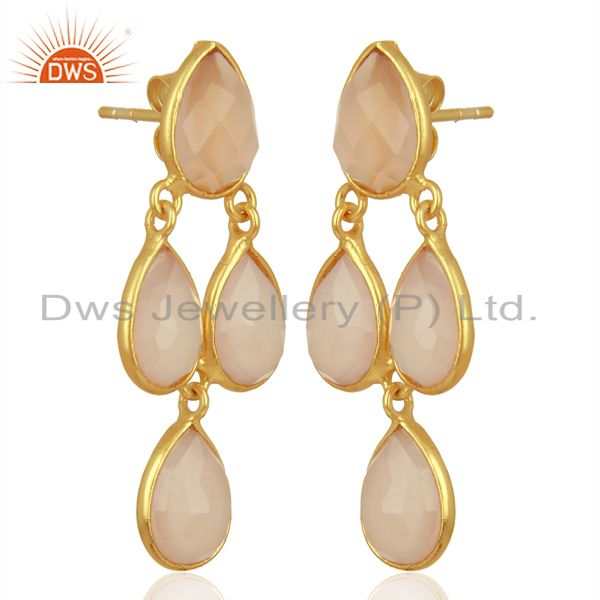 Exporter Rose Chalcedony Dangle 18K Gold Plated 925 Sterling Silver Earrings Jewelry