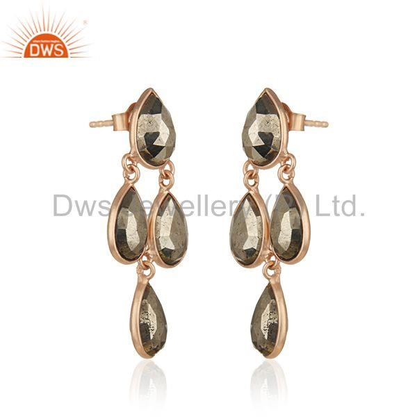Exporter 14k Rose Gold Sterling Silver Pyrite Gemstone Designer Earring Wholesale