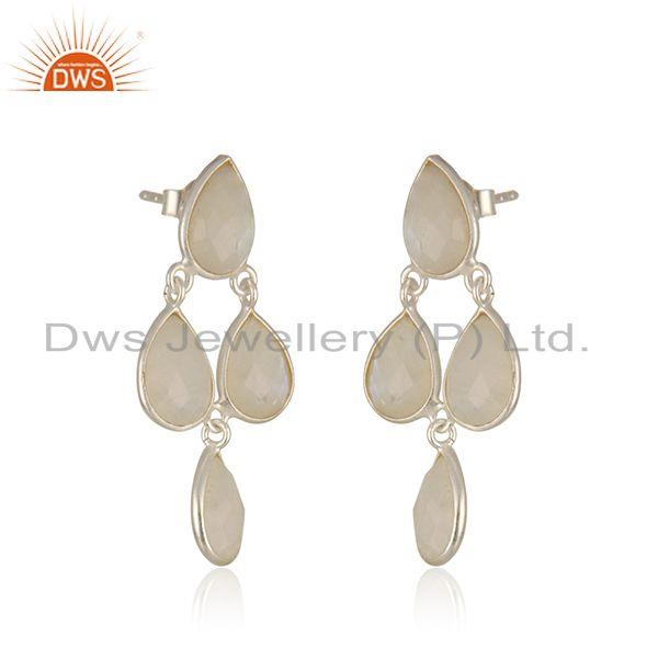 Exporter Rainbow Moonstone Fine Sterling Silver Earring Manufacturer in India