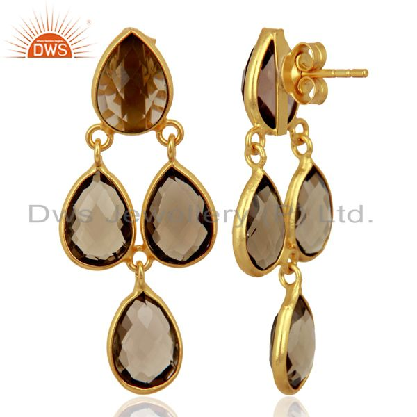 Exporter Smoky Quartz Drop 18K Yellow Gold Plated 925 Sterling Silver Earrings Jewelry