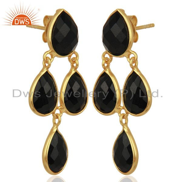 Exporter Black Onyx Gemstone Teardrop Sterling Silver Rose Gold Plated Chandelier Earring