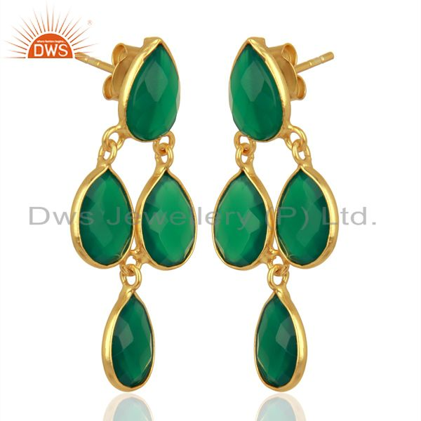 Exporter Green Onyx Dangle 18K Gold Plated 925 Sterling Silver Earrings Jewelry