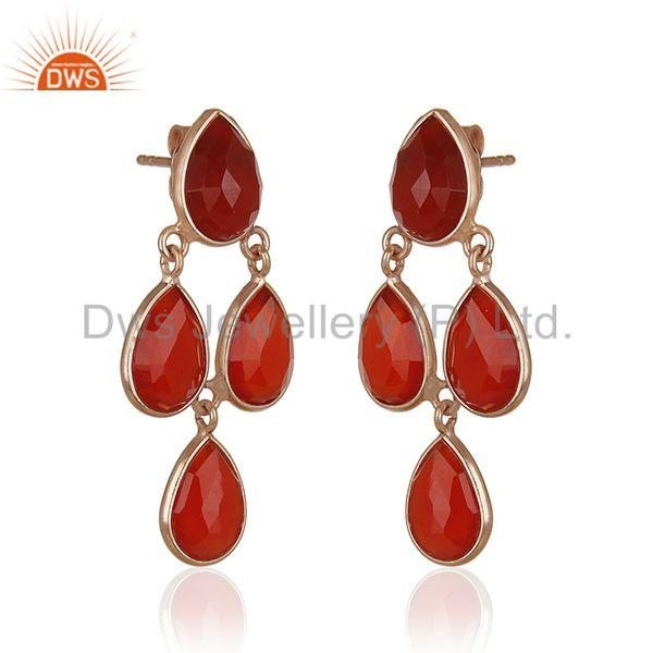 Exporter Red Onyx Gemstone Rose Gold Plated 925 Silver Drop Earrings Manufacturer